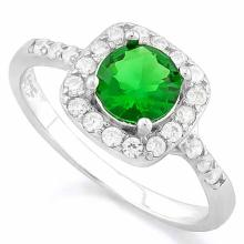 1 1/3 CARAT CREATED EMERALD & 1/4 CARAT (26 PCS) FLAWLESS CREATED DIAMOND 925 STERLING SILVER HALO RING