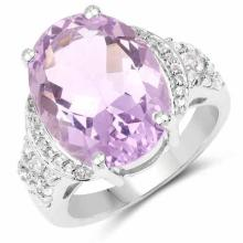 8.98 Carat Genuine Amethyst and White Topaz .925 Sterling Silver Ring