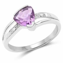 1.41 Carat Genuine Amethyst and White Diamond .925 Sterling Silver Ring
