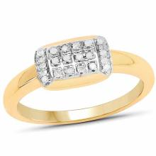 14K Yellow Gold Plated 0.12 Carat Genuine White Diamond .925 Sterling Silver Ring