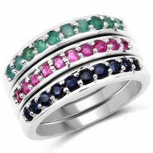 1.15 Carat Genuine Emerald, Ruby and Blue Sapphire .925 Sterling Silver Ring