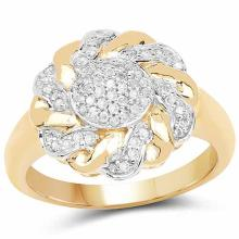 14K Yellow Gold Plated 0.28 Carat Genuine White Diamond .925 Sterling Silver Ring