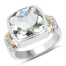 Two Tone Plated 6.42 Carat Genuine Green Amethyst and White Topaz .925 Sterling Silver Ring