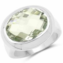 7.90 Carat Genuine Green Amethyst .925 Sterling Silver Ring