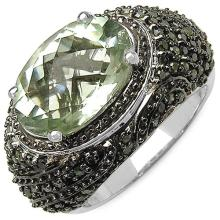 5.22 Carat Genuine Green Amethyst and 0.88 ct.t.w Genuine Diamond Accents Sterling Silver Ring