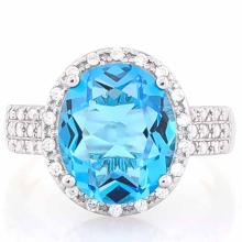 5 CARAT CREATED SWISS TOPAZ & 4 CARAT (40 PCS) FLAWLESS CREATED DIAMOND 925 STERLING SILVER HALO RING