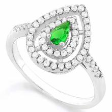0.30 CT CREATED EMERALD & 53PCS CREATED DIAMOND 925 STERLING SILVER HALO RING