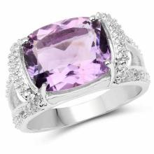 4.28 Carat Genuine Amethyst and White Topaz .925 Sterling Silver Ring