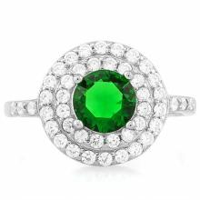 1 1/3 CARAT CREATED EMERALD & 1/2 CARAT (52 PCS) FLAWLESS CREATED DIAMOND 925 STERLING SILVER HALO RING