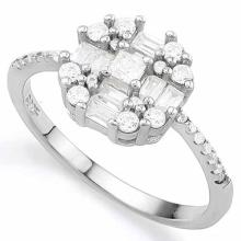 1 4/5 CARAT (25 PCS) FLAWLESS CREATED DIAMOND 925 STERLING SILVER HALO RING