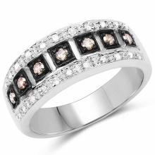 0.27 Carat Genuine Champagne Diamond and White Diamond .925 Sterling Silver Ring Ring