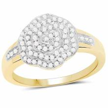 14K Yellow Gold Plated 0.29 Carat Genuine White Diamond .925 Sterling Silver Ring