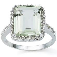 6.06 CARAT TW (3 PCS) GREEN AMETHYST & GENUINE DIAMOND PLATINUM OVER 0.925 STERLING SILVER RING