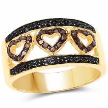 14K Yellow Gold Plated 0.32 Carat Genuine Black Diamond and Red Diamond .925 Sterling Silver Ring