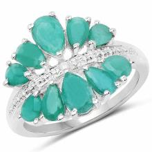 2.21 Carat Genuine Emerald and White Diamond .925 Sterling Silver Ring