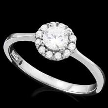 3/5 CARAT (13 PCS) FLAWLESS CREATED DIAMOND 925 STERLING SILVER HALO RING