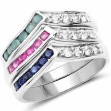 1.20 Carat Genuine multi stone .925 Sterling Silver Ring