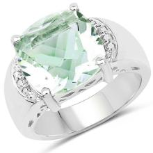 5.57 Carat Genuine Green Amethyst and White Topaz Brass Ring