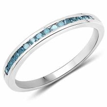 0.20 Carat Genuine Blue Diamond .925 Sterling Silver Ring