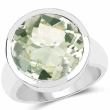 9.00 Carat Genuine Green Amethyst .925 Sterling Silver Ring