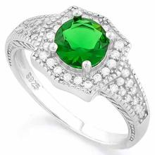 1 1/5 CARAT CREATED EMERALD & 2/5 CARAT (40 PCS) FLAWLESS CREATED DIAMOND 925 STERLING SILVER HALO RING