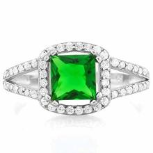 1 1/2 CARAT CREATED EMERALD & 5 3/5 CARAT (56 PCS) FLAWLESS CREATED DIAMOND 925 STERLING SILVER HALO RING