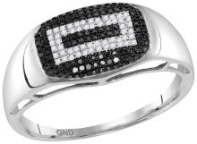 10kt White Gold Mens Round Black Colored Diamond Concentric Rectangle Cluster Ring 1/4 Cttw