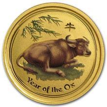 2009 Australia 1/10 oz Gold Lunar Ox BU (SII, Colorized)