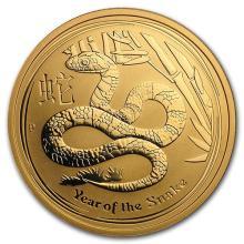 2013 Australia 1 oz Gold Lunar Snake BU (Series II)