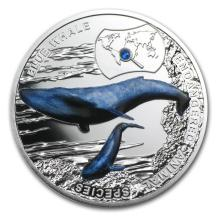 2015 Niue Silver Endangered Species Blue Whale Proof