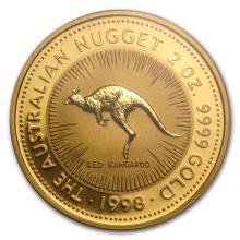 1998 Australia 2 oz Gold Nugget BU