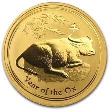 2009 Australia 1 oz Gold Lunar Ox BU (Series II)