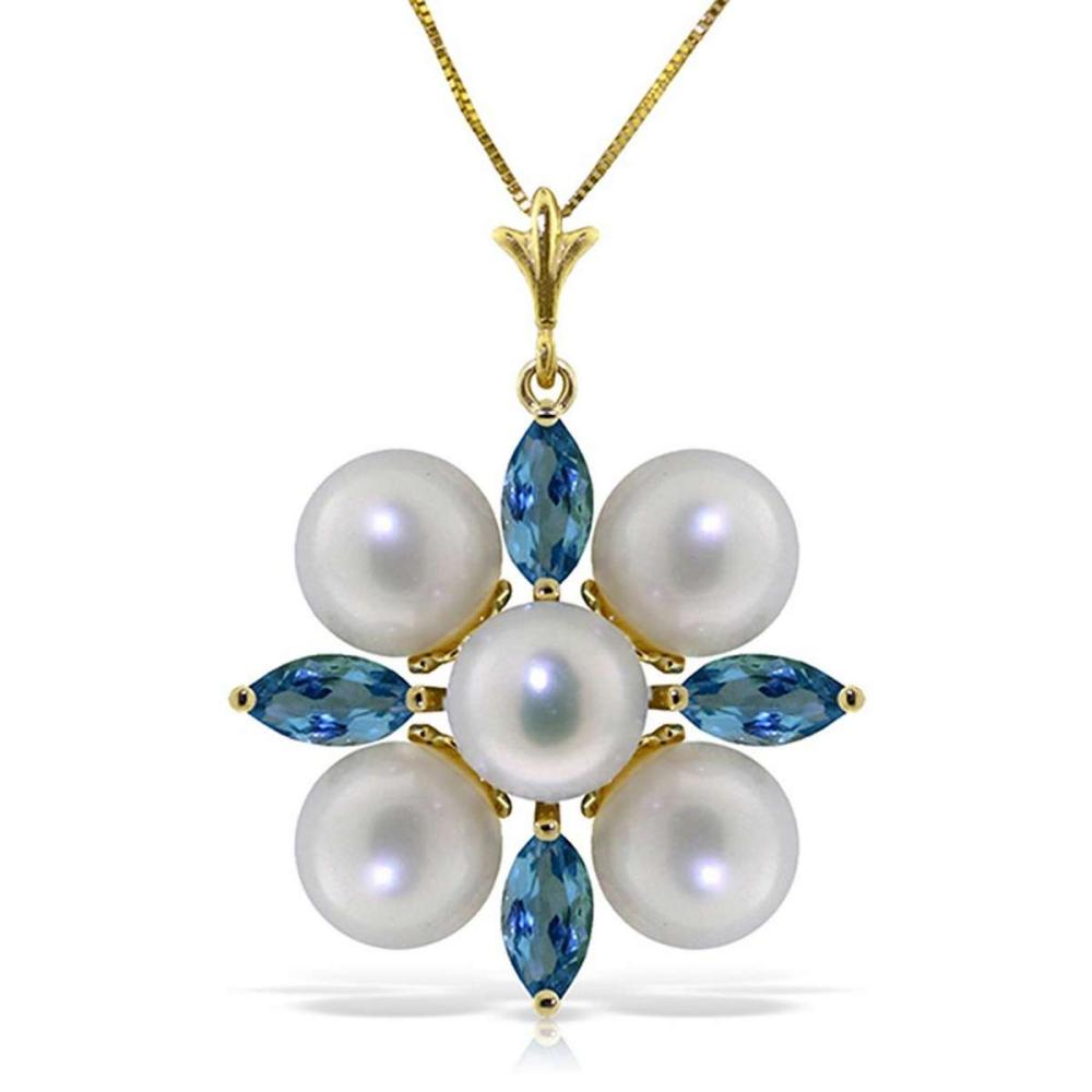 6.3 CTW 14K Solid Gold Grinning Lover Blue Topaz pearl Necklace
