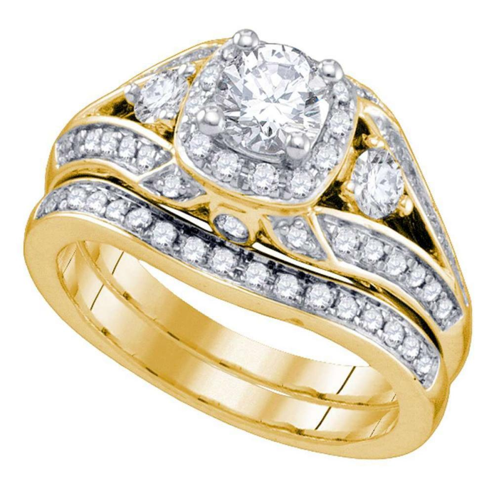 14kt Yellow Gold Round Diamond Bridal Wedding Engagement Ring Band Set 1-1/2 Ctw