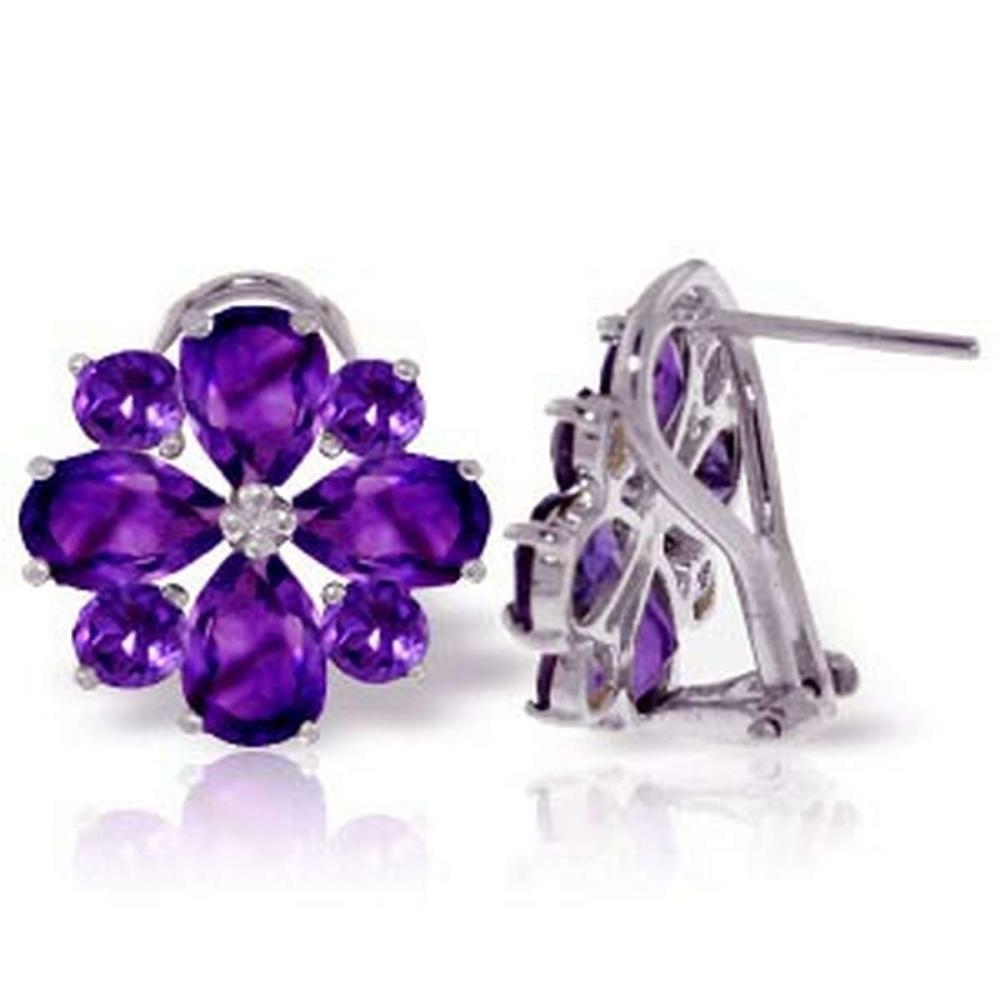 4.85 Carat 14K Solid White Gold Written In Stone Amethyst Earrings