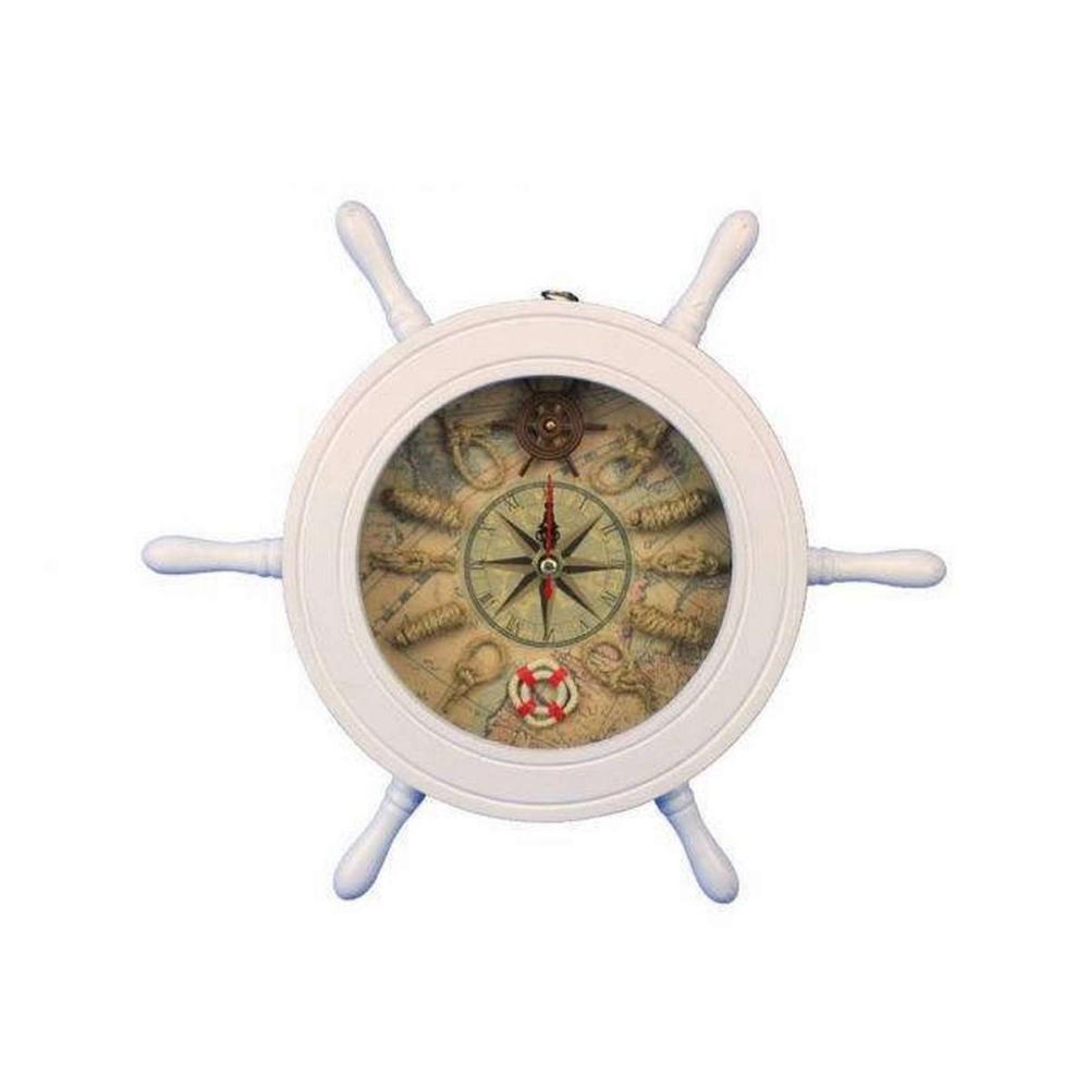 Wooden White Ship Wheel Knot Faced Clock 12in.