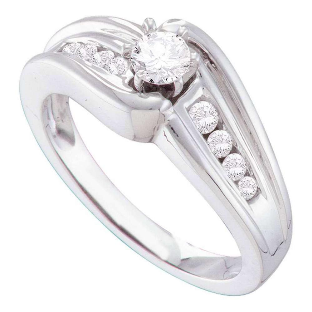 14k White Gold Round Diamond Solitaire Bridal Wedding Engagement Ring 3/8 Ctw