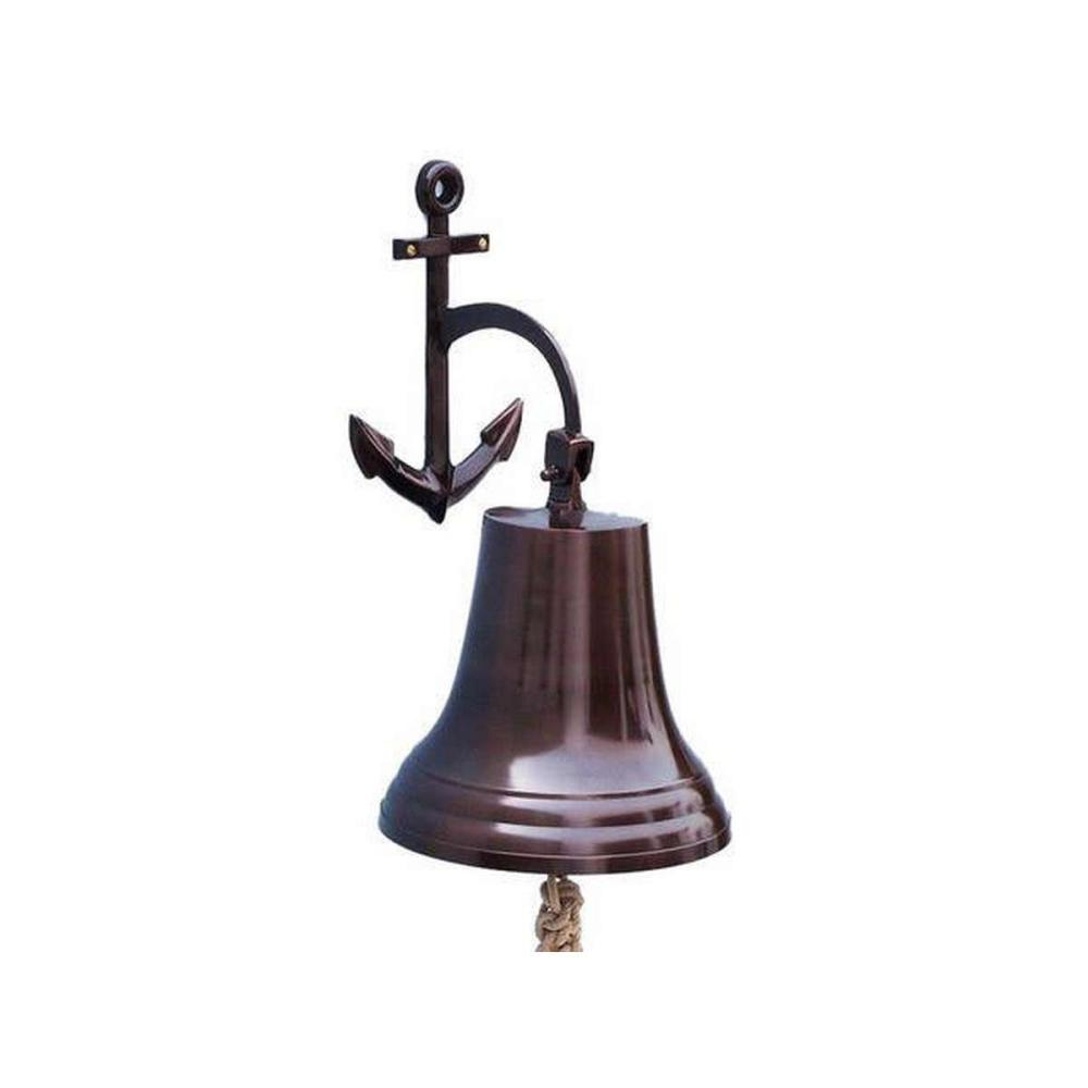 Antique Copper Hanging Anchor Bell 21in.