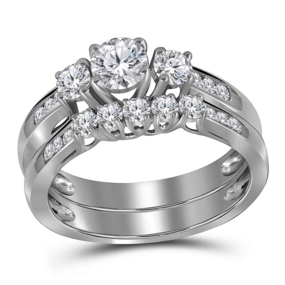 14K White Gold Round 3-Stone Diamond Womens Bridal Engagement Ring Band Set