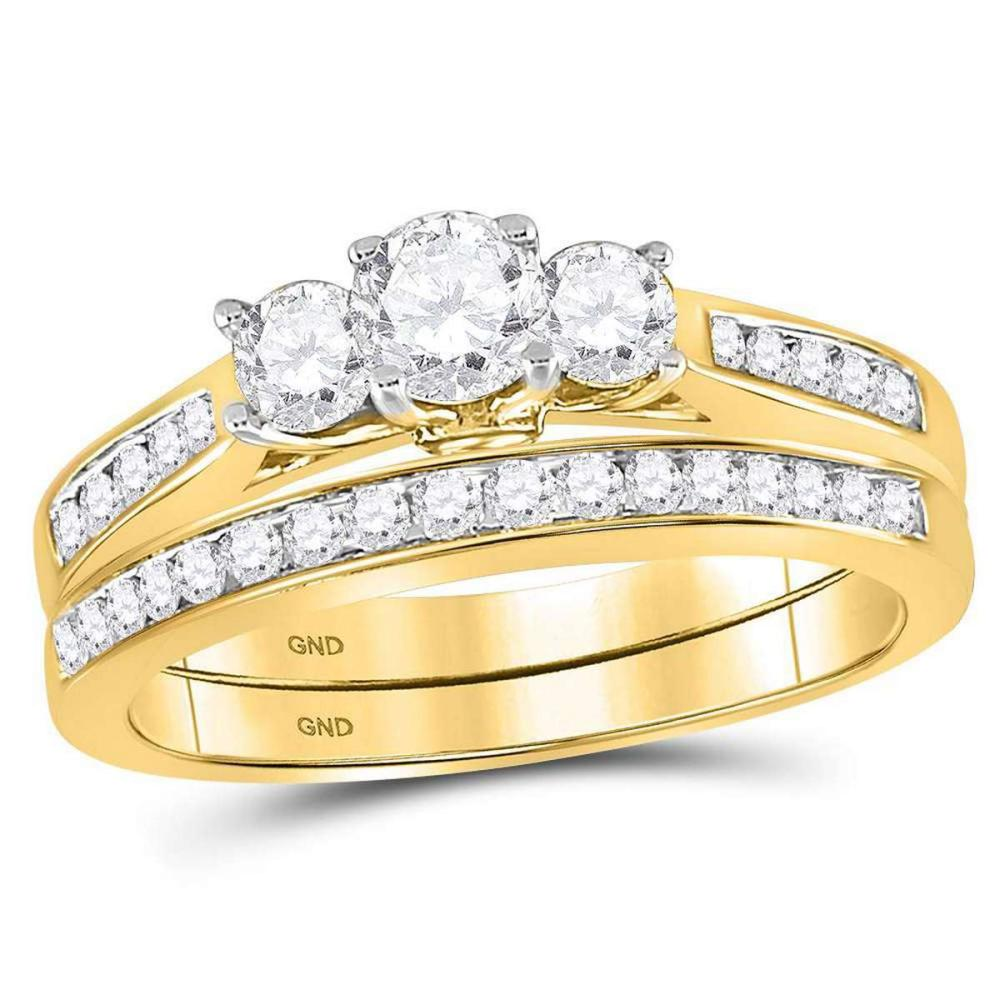 14kt Yellow Gold Round Diamond 3-Stone Bridal Wedding Engagement Ring Set
