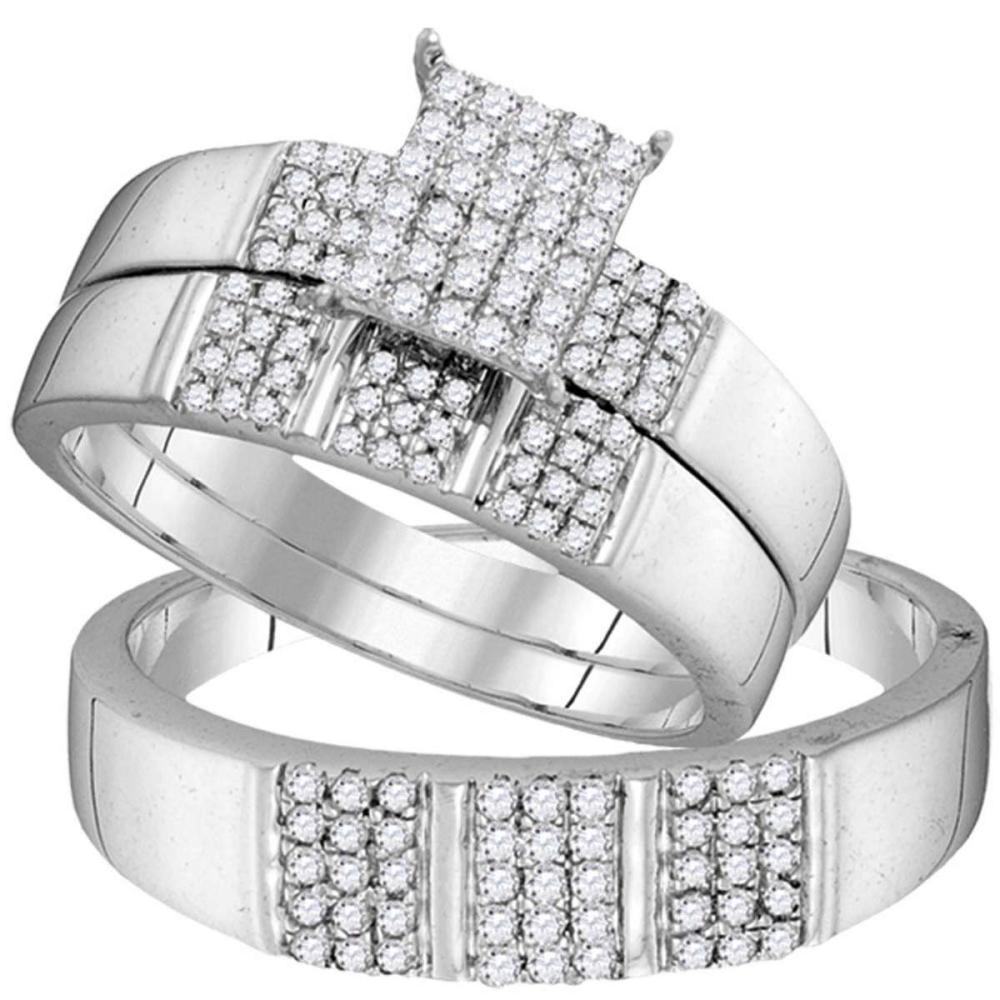 10kt White Gold His Hers Diamond Square Cluster Matching Bridal Wedding Ring Set