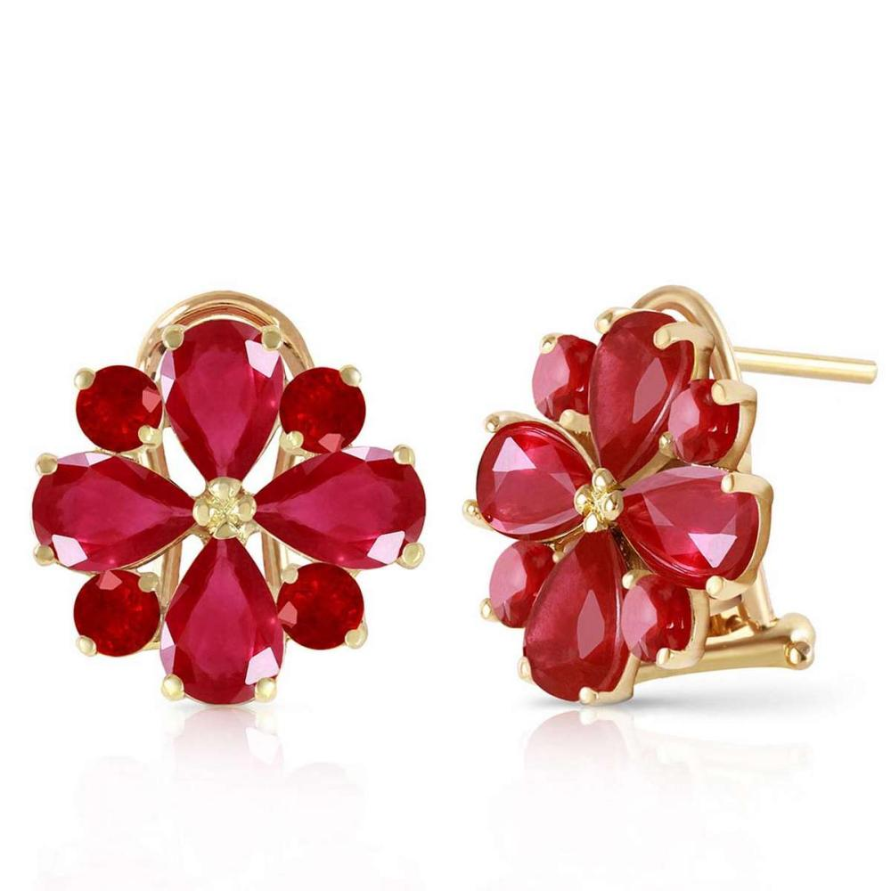 4.85 Carat 14K Solid Gold French Clips Earrings Natural Ruby