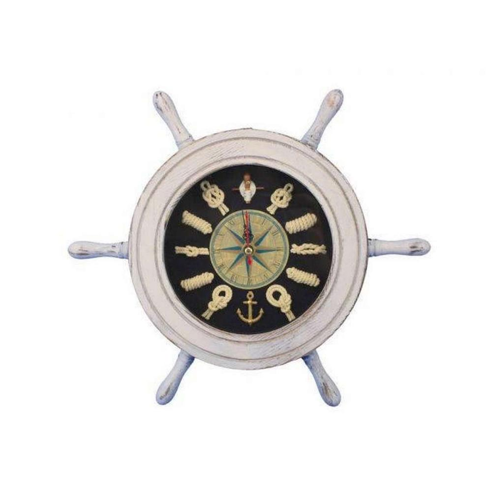 Wooden Whitewashed Ship Wheel with Dark Blue Knot Face Clock 12in.