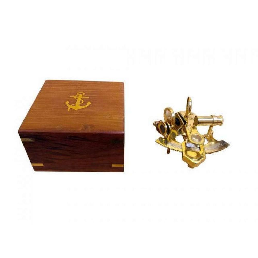 Scouts Brass Sextant 4in. with Rosewood Box