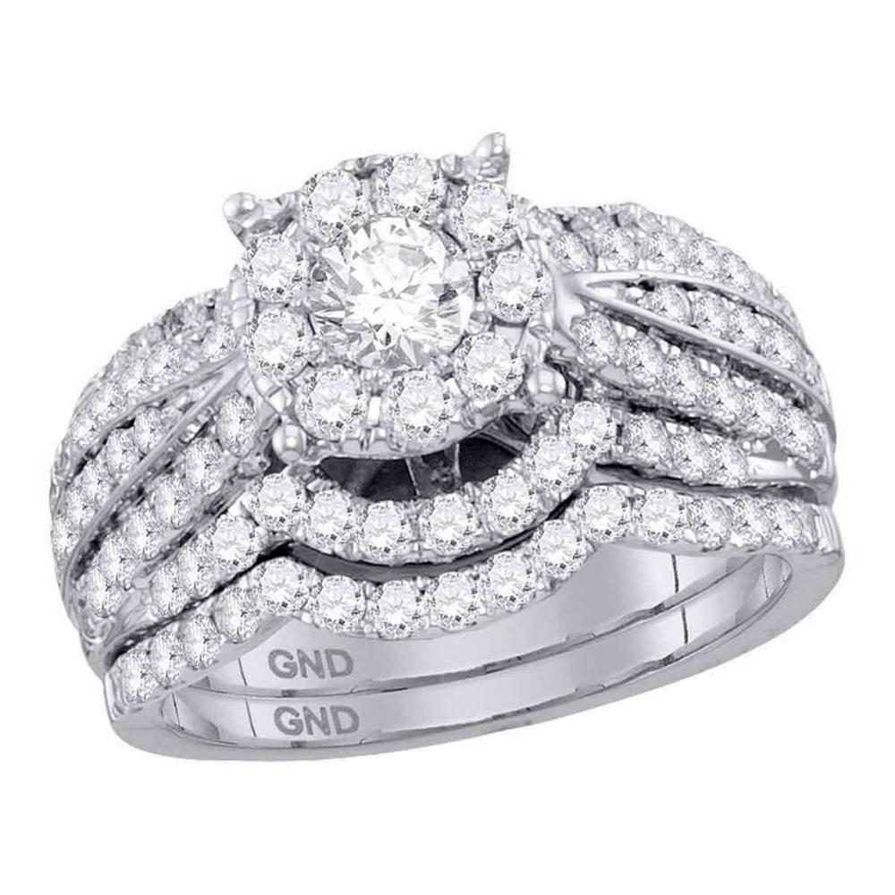 14k White Gold Round Diamond Bridal Wedding Engagement Ring Set 1-3/4 Ctw