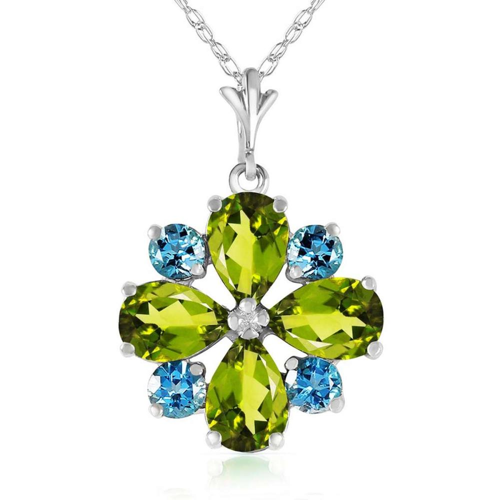 2.43 CTW 14K Solid White Gold Necklace Peridot Blue Topaz