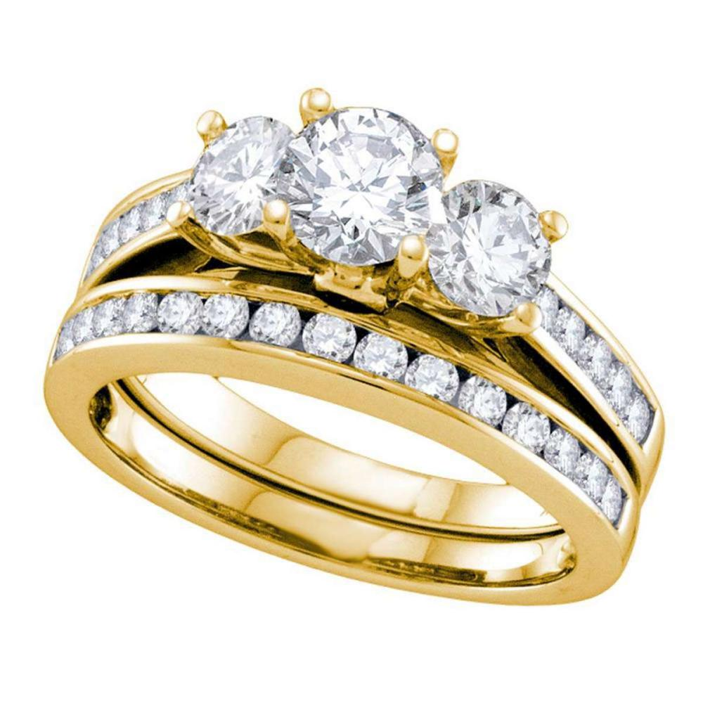 14k Yellow Gold Round 3-Stone Diamond Bridal Wedding Engagement Ring Set 2 Ctw