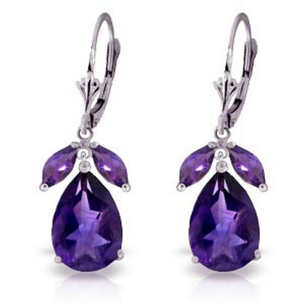 13 CTW 14K Solid White Gold Leverback Earrings Natural Amethyst
