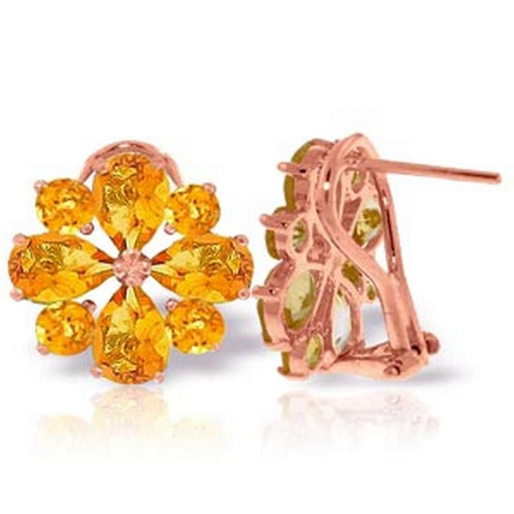 4.85 CTW 14K Solid Rose Gold Flower Citrine Clip Earrings
