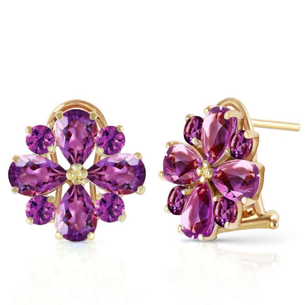 4.85 CTW 14K Solid Gold Fiore Amethyst Earrings